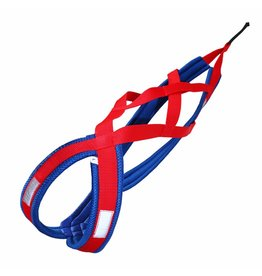 LasaLine Weight Pulling Dog Harness, X - Back Style  Red Blue