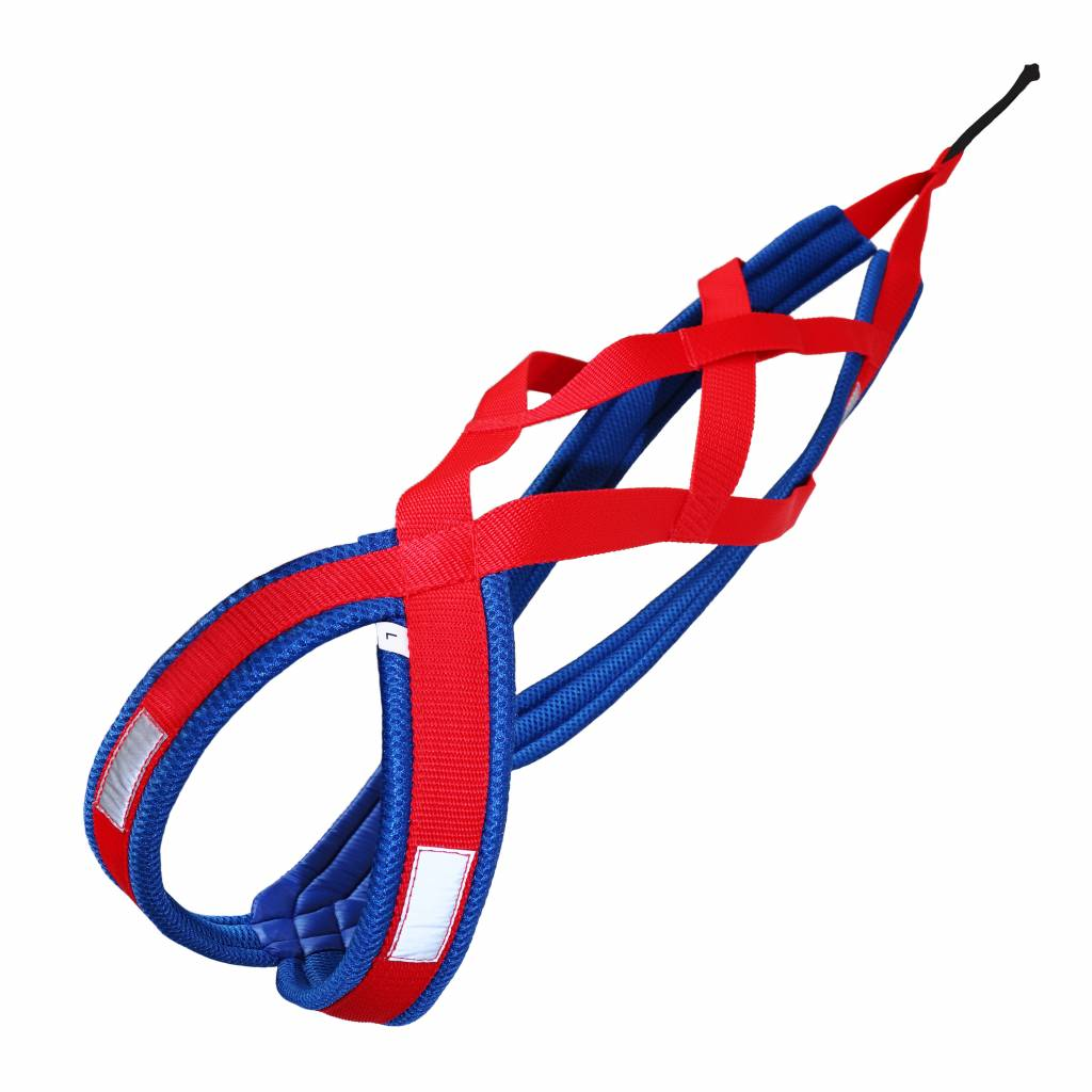 LasaLine LasaLine Weight Pulling Dog Harness, X - Back Style for Canicross, Bike, Sled, Scooter, Bike-, Ski-Joring, Jogging,... Red Blue
