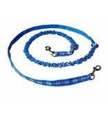 Weight Pulling Dog Harness, X - Back Style - Blue Neonyellow + Leash