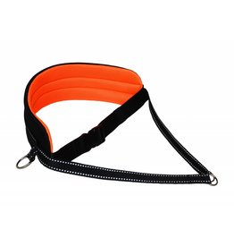 LasaLine Handsfree Dog Walking Running Jogging Waist Belt - neon orange Pedding/ black with reflectors