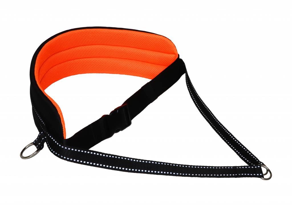 LasaLine Bauchgurt für Canicross, Dogtrekking, Skijöring - Polsterung in neon orange/ schwarz mit Reflektoren