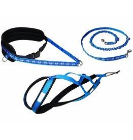 Northern Howl Canicross-Set,  harness X-Back, Joring- Line - blue