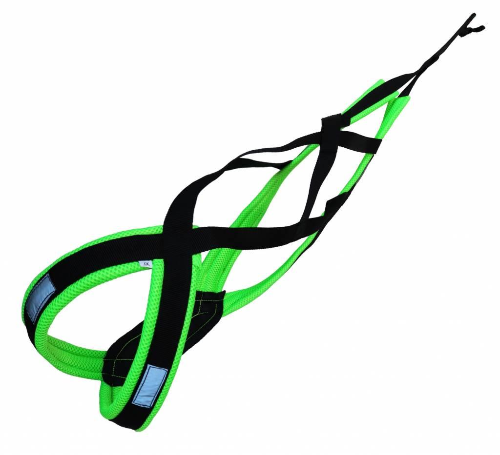 LasaLine X-Back harnais pour chien pour le vélo, ski-joering, scooter, traîneau - en noir avec un rembourrage vert fluo