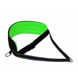 LasaLine Ceinture mains libres pour chien qui marche en train de courir à la taille - vert néon-noir avec réflecteurs