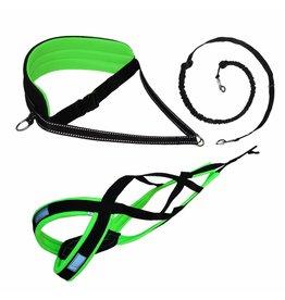 LasaLine Canicross-Set,  harness X-Back, Joring- Line - black-neon green