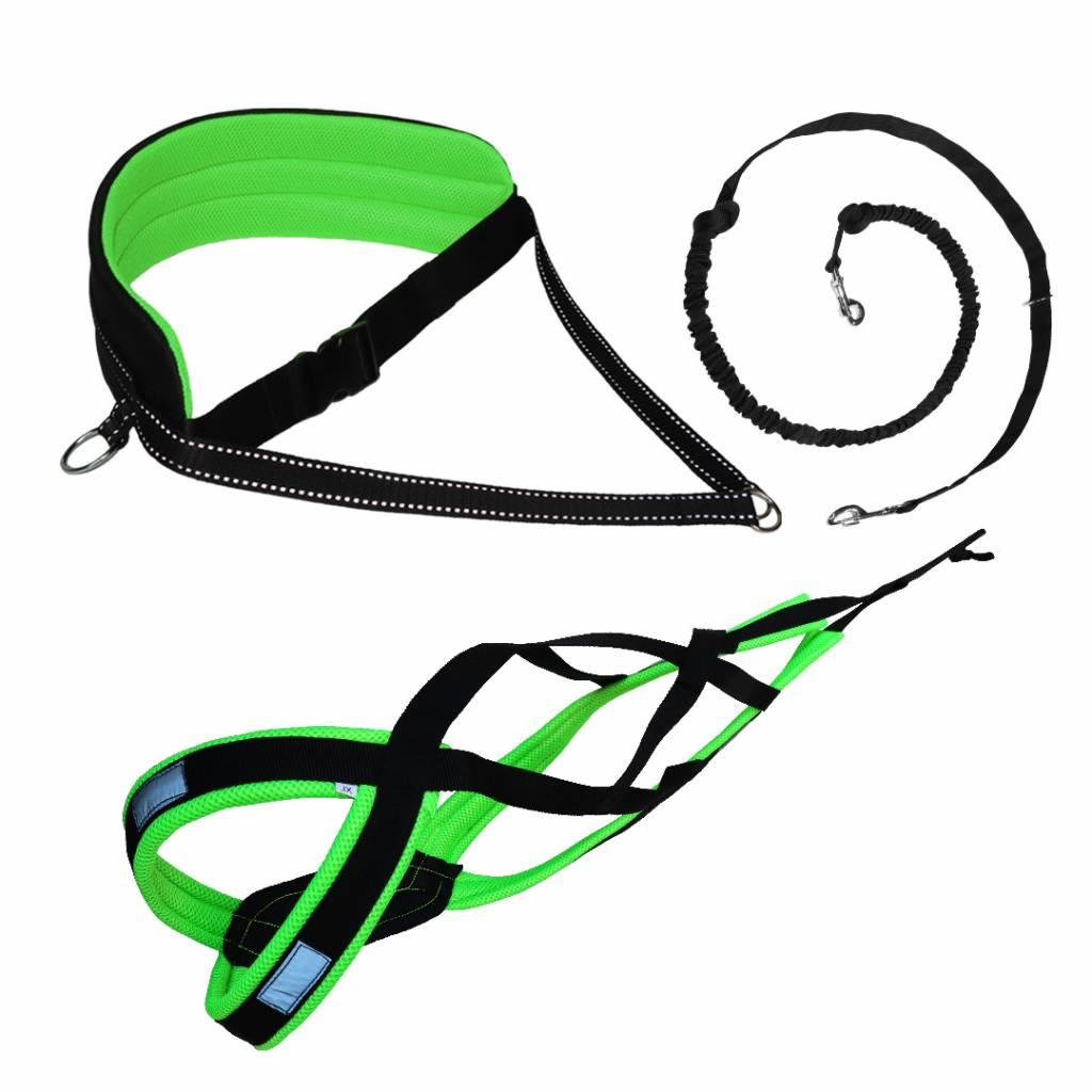 LasaLine Canicross-Set, X-Back Zuggeschirr, Jöring- Leine - black-neon green pedding