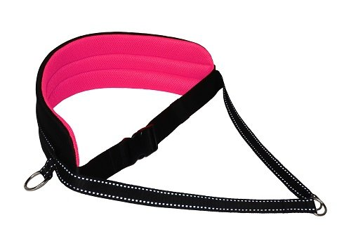 LasaLine Canicross-Set, X-Back Zuggeschirr, Jöring- Leine - black-neon pink pedding