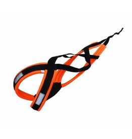 LasaLine X-Back harnais pour chien pour le vélo, ski-joering, scooter, traîneau - en néon orange / noir