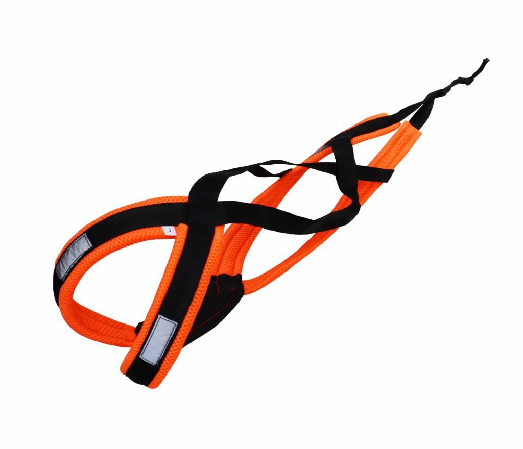 LasaLine X-Back harnais pour chien pour le vélo, ski-joering, scooter, traîneau - -en néon orange / noir