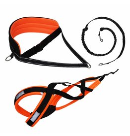 LasaLine Canicross-Set,  harness X-Back, Joring- Line -noir avec pedding orange néon