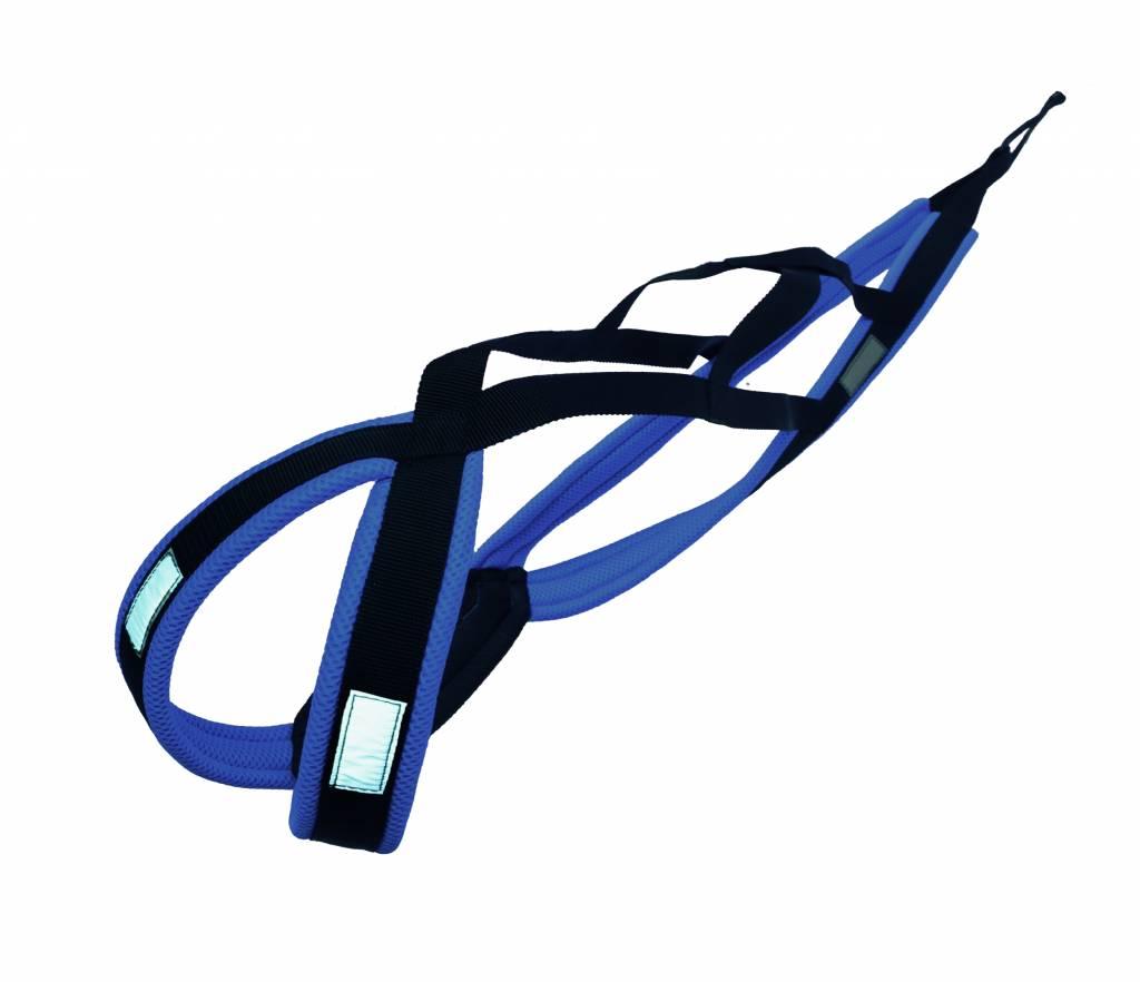 LasaLine X-Back harnais pour chien pour le vélo, ski-joering, scooter, traîneau - en noir avec un rembourrage bleu
