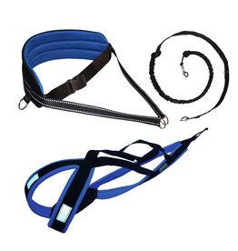 LasaLine Canicross-Set,  harness X-Back, Joring- Line - black-blue