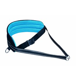 LasaLine Handsfree Dog Walking Running Jogging Waist Belt - black-light blue pedding