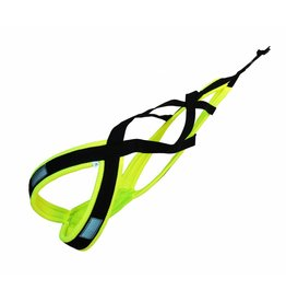 LasaLine Weight Pulling Dog Harness, X - Back Style  in neon yellow/black