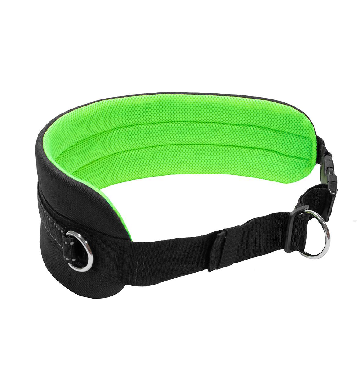 LasaLine Handsfree Dog Walking Running Jogging Waist Belt -  neon green Pedding/ black with reflectors