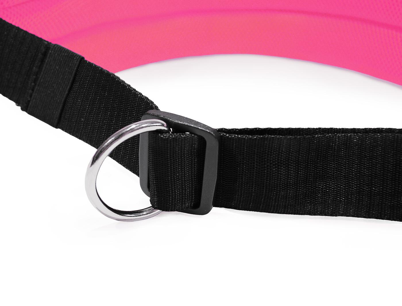 LasaLine Mains-libres chien marchant Courir jogging Ceinture - noir néon rose