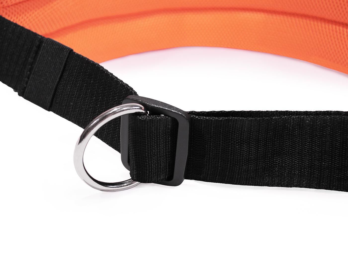LasaLine Mains-libres chien marchant Courir jogging Ceinture - néon orange Pedding / noir avec réflecteurs