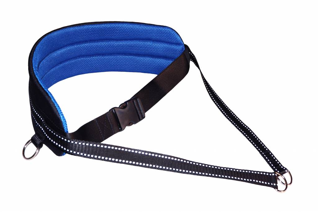 LasaLine Handsfree Dog Walking Running Jogging Waist Belt - Blue Pedding/black