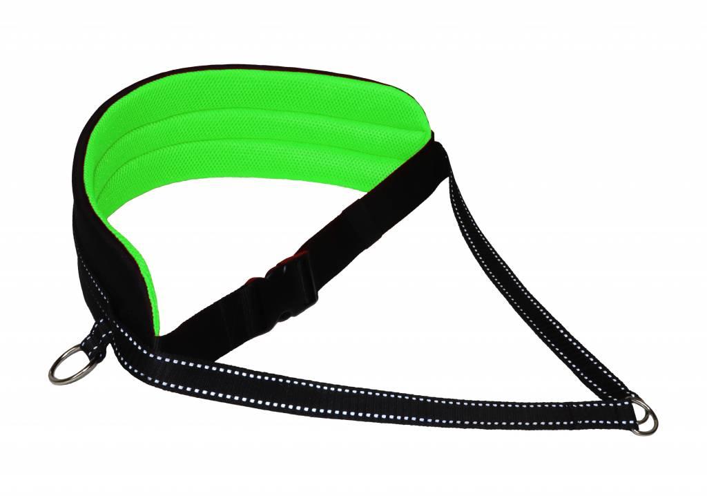 Ceinture mains libres pour chien qui marche en train de courir à la taille - vert néon-noir avec réflecteurs