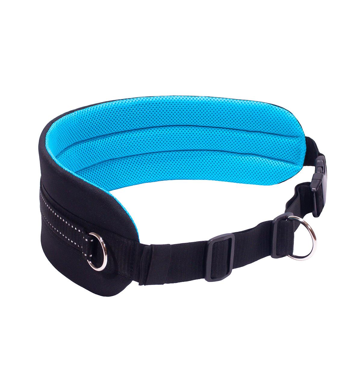 LasaLine Mains-libres chien marchant Courir jogging Ceinture - bleu clair Pedding / noir avec réflecteurs