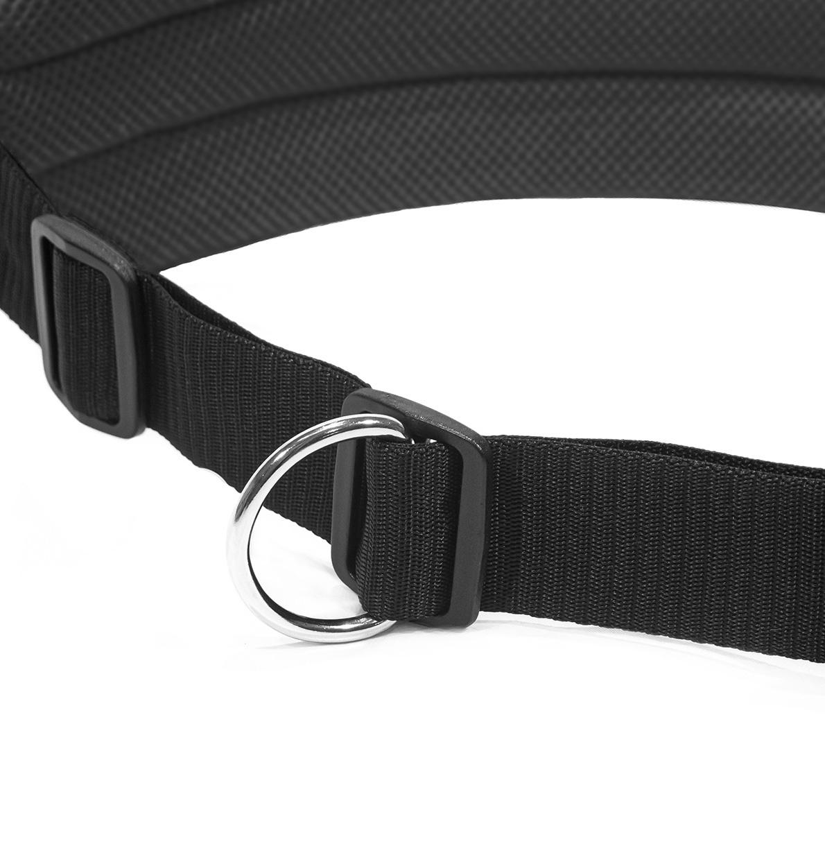 LasaLine Mains-libres chien marchant Courir jogging Ceinture - noir Pedding / réflecteurs noirs