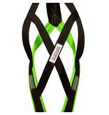 LasaLine LASALINE X-Back harnais pour chien pour le vélo, ski-joering, scooter, traîneau - en noir avec un rembourrage vert fluo