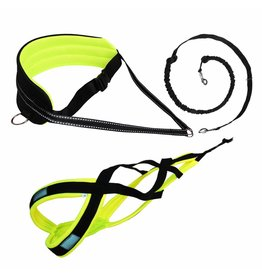 LASALINE Canicross-Set,  harness X-Back, Joring- Line -noir avec pedding jaune néon - FBA