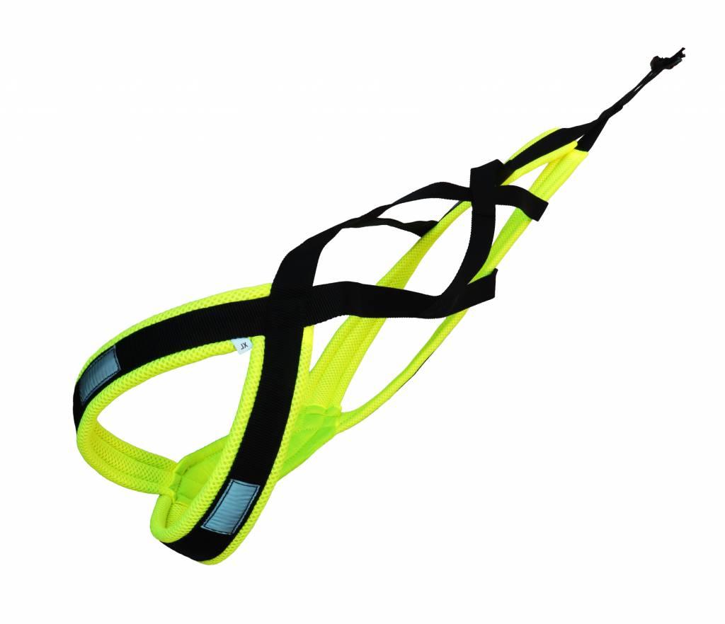 LASALINE Canicross-Set,  harness X-Back, Joring- Line -noir avec pedding jaune néon
