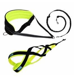 LASALINE Canicross-Set,  harness X-Back, Joring- Line - black-neon yellow