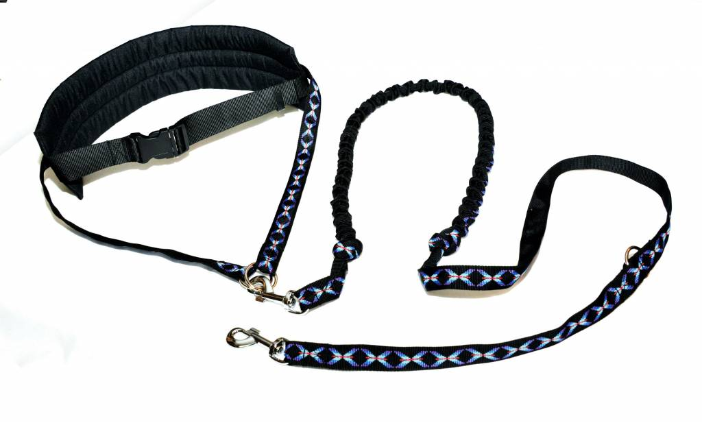 Handsfree Dog Walking Running Jogging Waist Belt + Leash with integrated Bungee - black