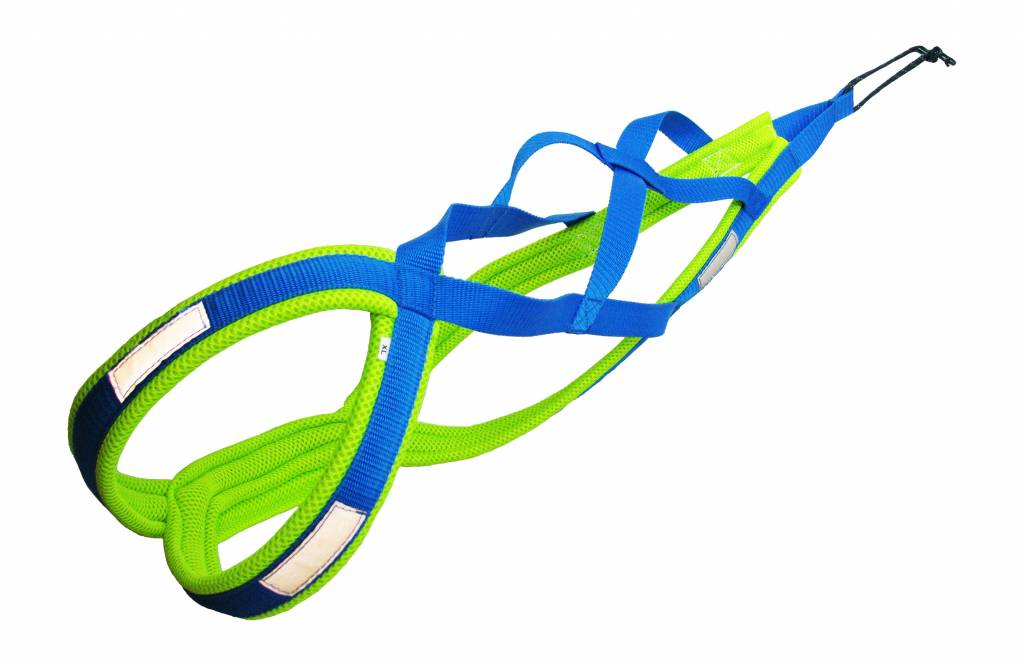 Northern Howl Northern Howl Weight Pulling Dog Harness, X-Back Style in Blue-Neon Yellow