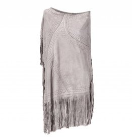 Suede Poncho Light Grey