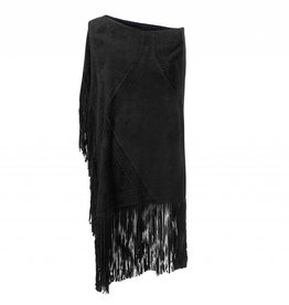 Fringed Suede Poncho Black