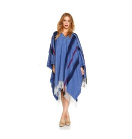 Woolen Poncho Blue