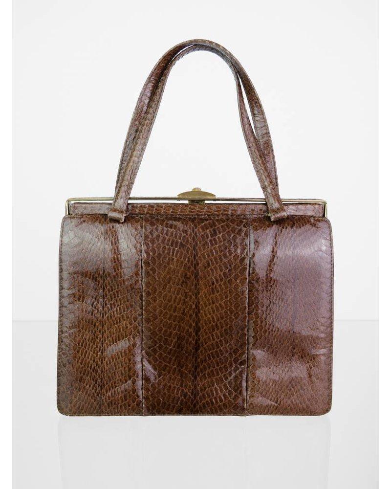 3604097da061d ... Echtleder Vintage Handtasche in Brauntönen