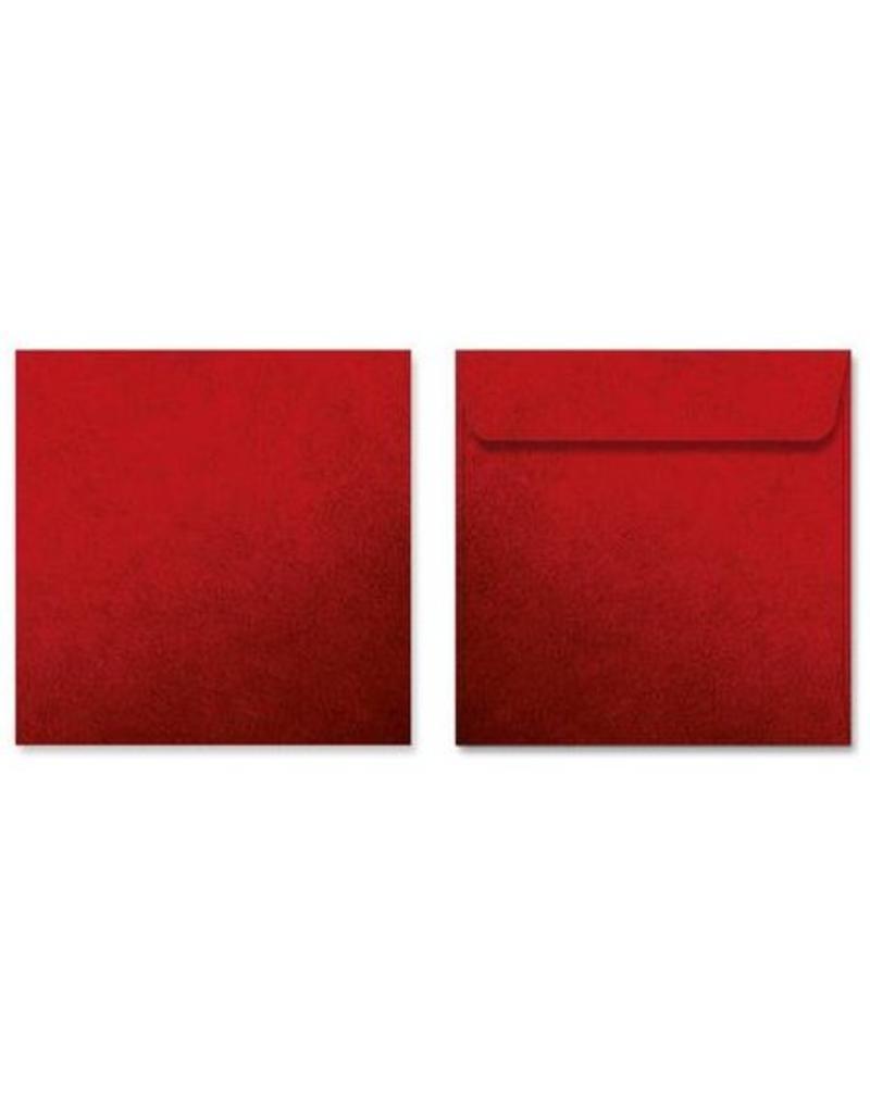 Kuvert quadratisch, Rot mit Struktur