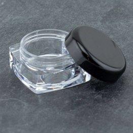 Acryldöschen klar, schwarzer Deckel 5ml