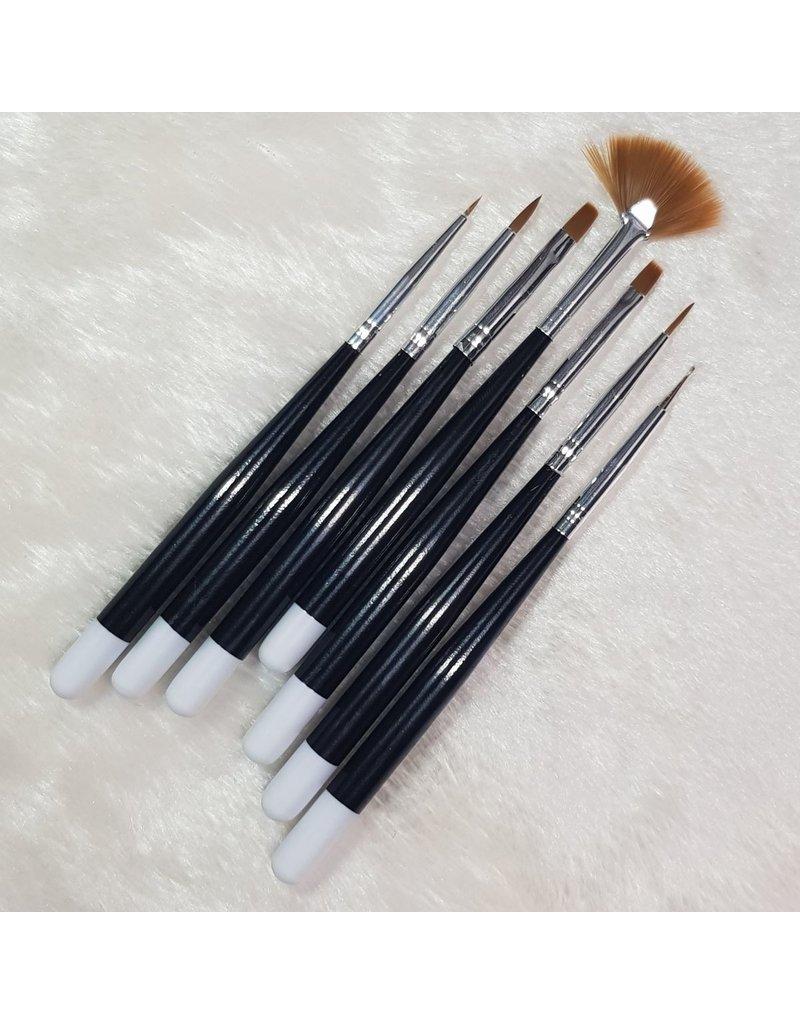MPK Nails® Pinsel-Set mit Spot Swirl, 7teilig / schwarz