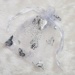 MPK Nails® Organzasäckchen weiß mit Schmetterlingen