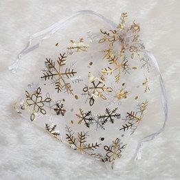 MPK Nails® Organzasäckchen weiß mit Schneeflocken