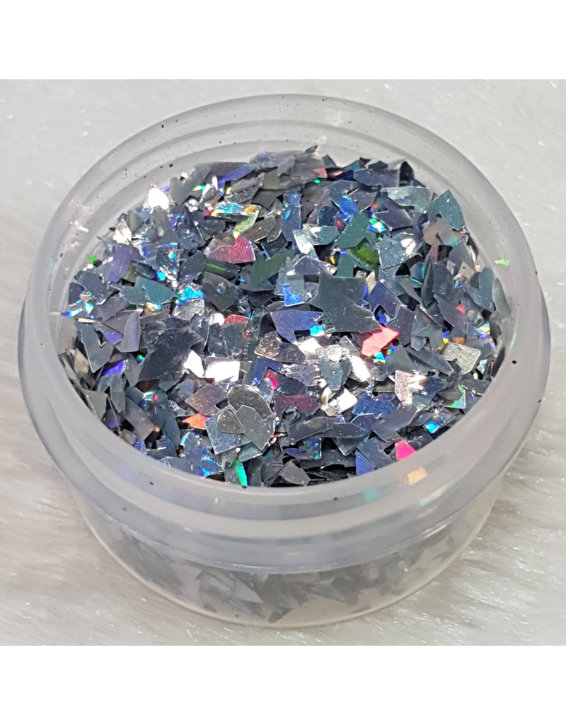 Nail Art Glitter Flakes 10 - Holo Silber
