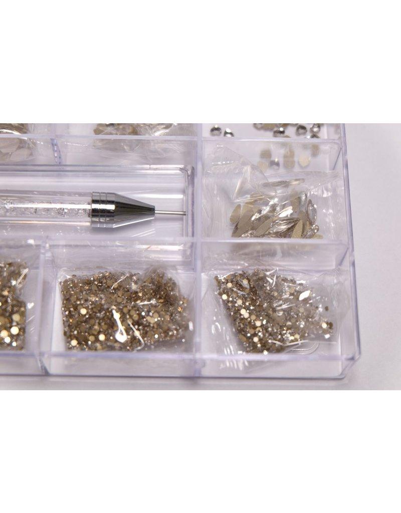 Strass Mix-Box mit Strass Picker, klar