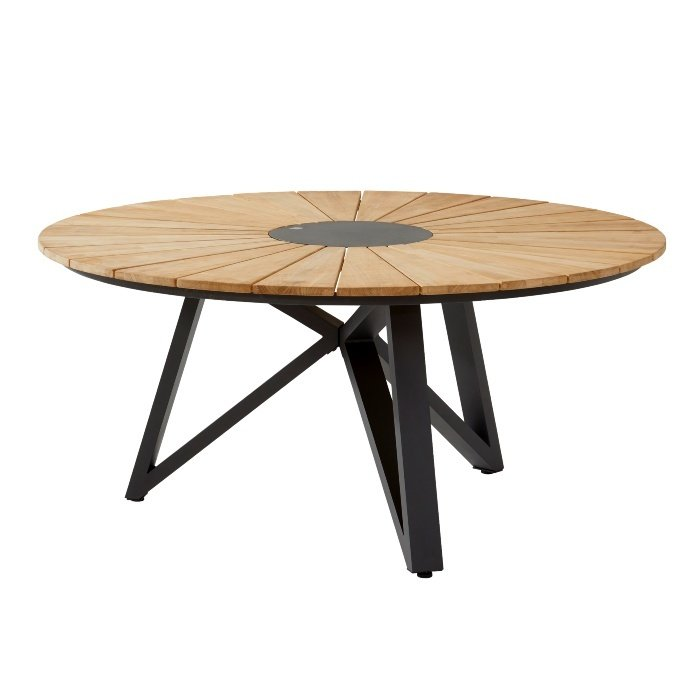 Globe Gartentisch rund 160 cm mit teakplatte