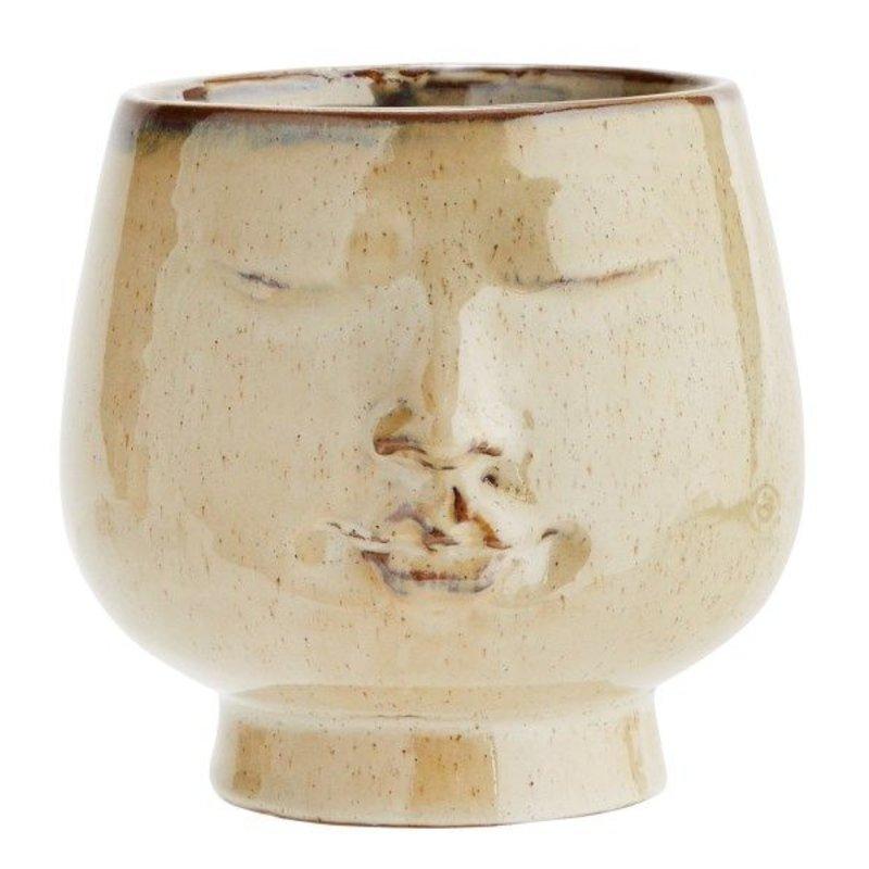 Madam Stoltz-collectie Flowerpot w/ face imprint D:14,5 x14 cm