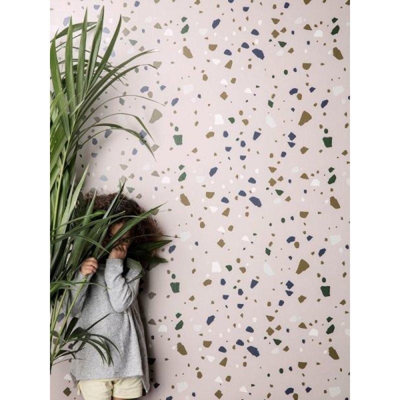 ferm LIVING-collectie Behang Terrazzo - Roze