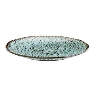 Madam Stoltz Aardewerk bord groen-blauw 27,5 cm