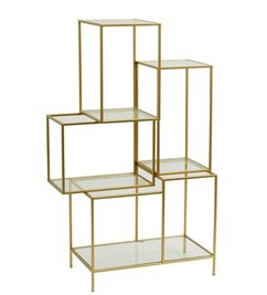 Nordal-collectie Metal rack with glass shelves - Gold