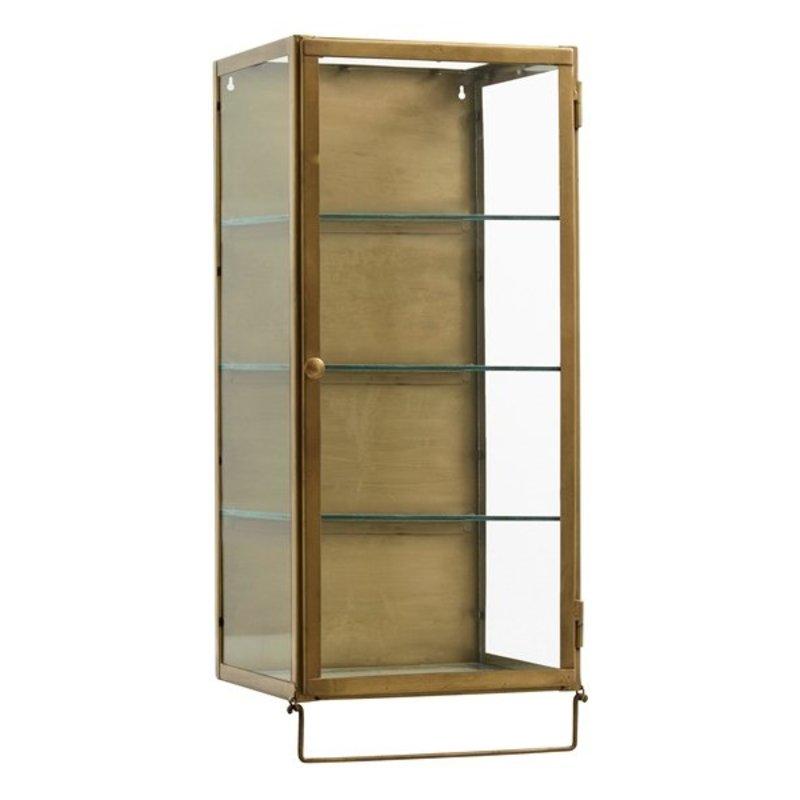Nordal-collectie Metalen wandkastje met deur en uitneembare plankjes - Goud