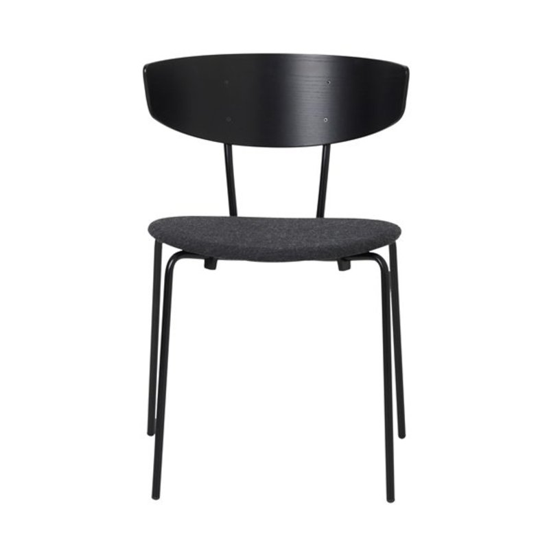 ferm LIVING-collectie Herman Chair - Black/Seat Dark Grey Melange