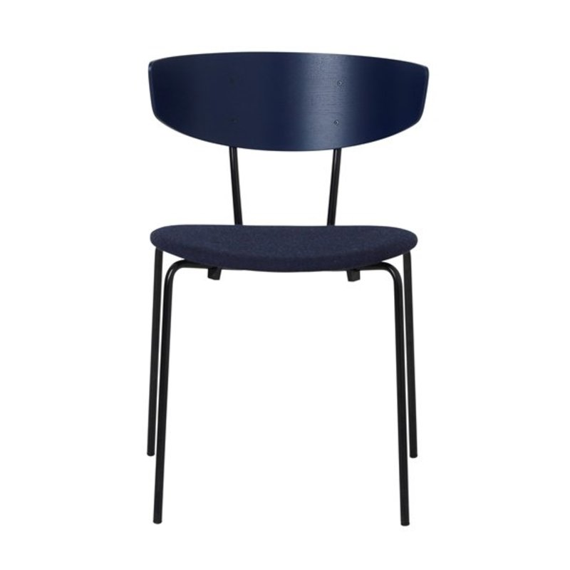 ferm LIVING-collectie Herman Chair - Dark Blue/Seat Dark Blue Melange